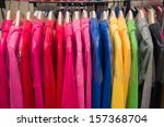 fashion clothes on hangers | Shutterstock . vector #157368704