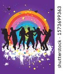 dancing people silhouettes.... | Shutterstock .eps vector #1573699363