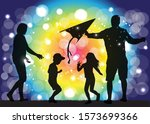 family silhouettes in nature.... | Shutterstock .eps vector #1573699366