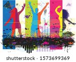 dancing people silhouettes.... | Shutterstock .eps vector #1573699369