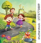 illustration of children... | Shutterstock . vector #1573773889