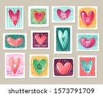 hearts stamps set. valentine's... | Shutterstock .eps vector #1573791709