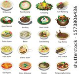 Indonesian cuisine famous dishes, delicious cullinary food - Vector