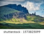 Old Man of Storr mountain formation on Trotternish peninsula on the Isle of Skye, one of the Inner Hebrides Islands of Scotland