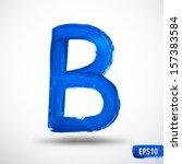alphabet letter b. watercolor...   Shutterstock .eps vector #157383584