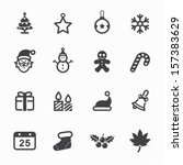 christmas icons with white...