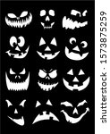 black and white set halloween... | Shutterstock .eps vector #1573875259