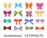 Gift Bows Colorful Flat Vector...