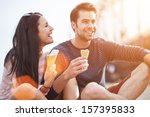 romantic couple eating ice... | Shutterstock . vector #157395833