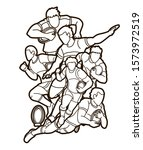 rugby players cartoon sport... | Shutterstock .eps vector #1573972519
