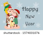 happy family awaiting new year... | Shutterstock . vector #1574031076
