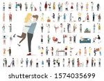 colorful vector set of people.   Shutterstock .eps vector #1574035699