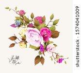 bouquet of flowers.... | Shutterstock .eps vector #1574041009