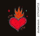mexican heart tattoo on dark...   Shutterstock .eps vector #1574144713