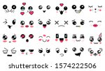kawaii cute faces. manga style... | Shutterstock .eps vector #1574222506