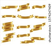 gold ribbon set in isolated for ... | Shutterstock .eps vector #1574247409