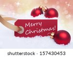 a red tag with a white merry... | Shutterstock . vector #157430453