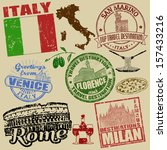 set of grunge stamps with italy ... | Shutterstock .eps vector #157433216