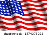 illustration of a waving flag... | Shutterstock . vector #1574375026