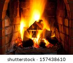 Fire In Fireplace In Evening...