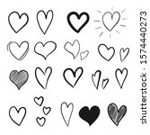 collection of hand drawn hearts ... | Shutterstock .eps vector #1574440273