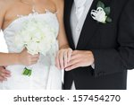 young married couple posing... | Shutterstock . vector #157454270