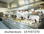 four chefs working in a big... | Shutterstock . vector #157457270