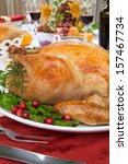 garnished roasted turkey on... | Shutterstock . vector #157467734