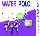 Conceptual hand writing showing Water Polo. Business photo showcasing competitive team sport played in the water between two teams SMS Email Marketing Media Audience Attraction PC Loudspeaker.
