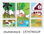 bull sheep hen ducks in lake... | Shutterstock .eps vector #1574740129