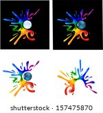 rainbow paint splatters around... | Shutterstock .eps vector #157475870