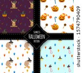 halloween pattern set. cartoon... | Shutterstock .eps vector #1574790409