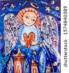 Angel With Heart In Hands On...