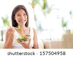 healthy lifestyle woman eating... | Shutterstock . vector #157504958