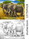 safari   elephants   coloring... | Shutterstock . vector #157509428