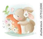 cute rabbit hugging a big carrot | Shutterstock .eps vector #1575112000