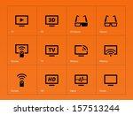 tv icons on orange background....
