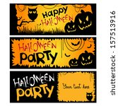 halloween party invitation.... | Shutterstock .eps vector #157513916