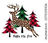 jumping leopard deer on a... | Shutterstock .eps vector #1575155536