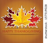 Maple leaf Thanksgiving card in vector format. - stock vector