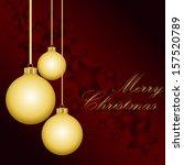 golden christmas balls on the... | Shutterstock .eps vector #157520789
