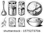 sea salt set. glass bottles ... | Shutterstock .eps vector #1575273706