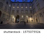 Narrow and dark  half medieval half baroque courtyard in the schweizerhof aisle of the Hofburg palace in Vienna, the former imperial castle residence of the Habsburg dynasty