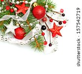 christmas background with red... | Shutterstock . vector #157542719