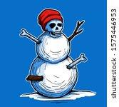 creepy skull head snowman... | Shutterstock .eps vector #1575446953