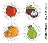 fruit set   apple  mangosteen ... | Shutterstock .eps vector #1575450010