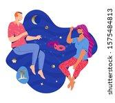 gemini couple zodiac and...   Shutterstock .eps vector #1575484813