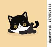 cute cartoon black cat with big ... | Shutterstock .eps vector #1575536563