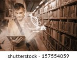 mature student using futuristic ... | Shutterstock . vector #157554059