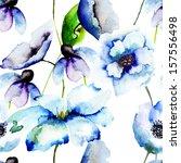 beautiful blue flowers ... | Shutterstock . vector #157556498